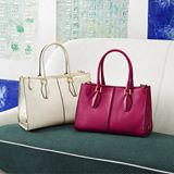 FOR HER - Tod's D-Cube shoppers in soft calfskin leather, with iconic central ribbing and a side metal logo plaque.
